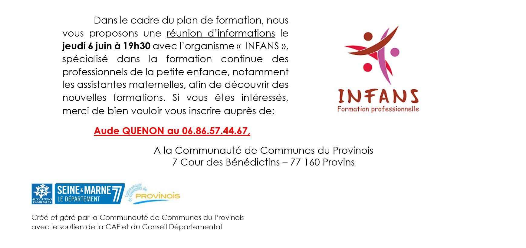 Réunion d'information avec l'organisme INFANS