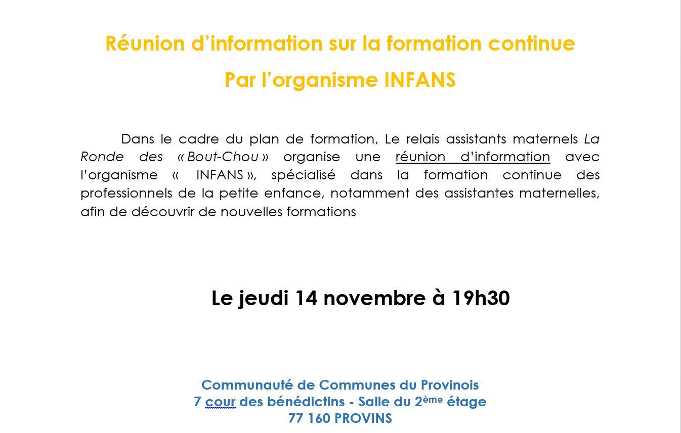 Réunion d'information sur la formation continue par l'organisme INFANS
