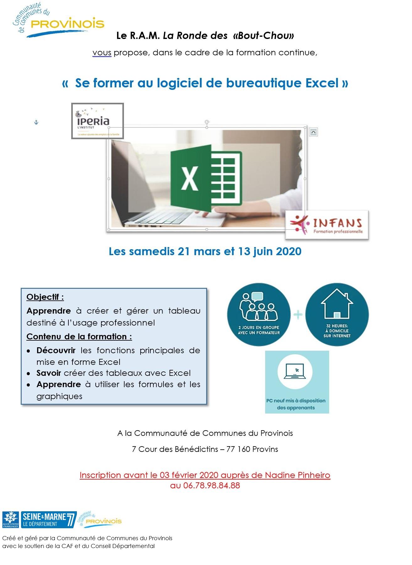 Formation en logiciel bureautique EXCEL @ Communauté de Communes du Provinois