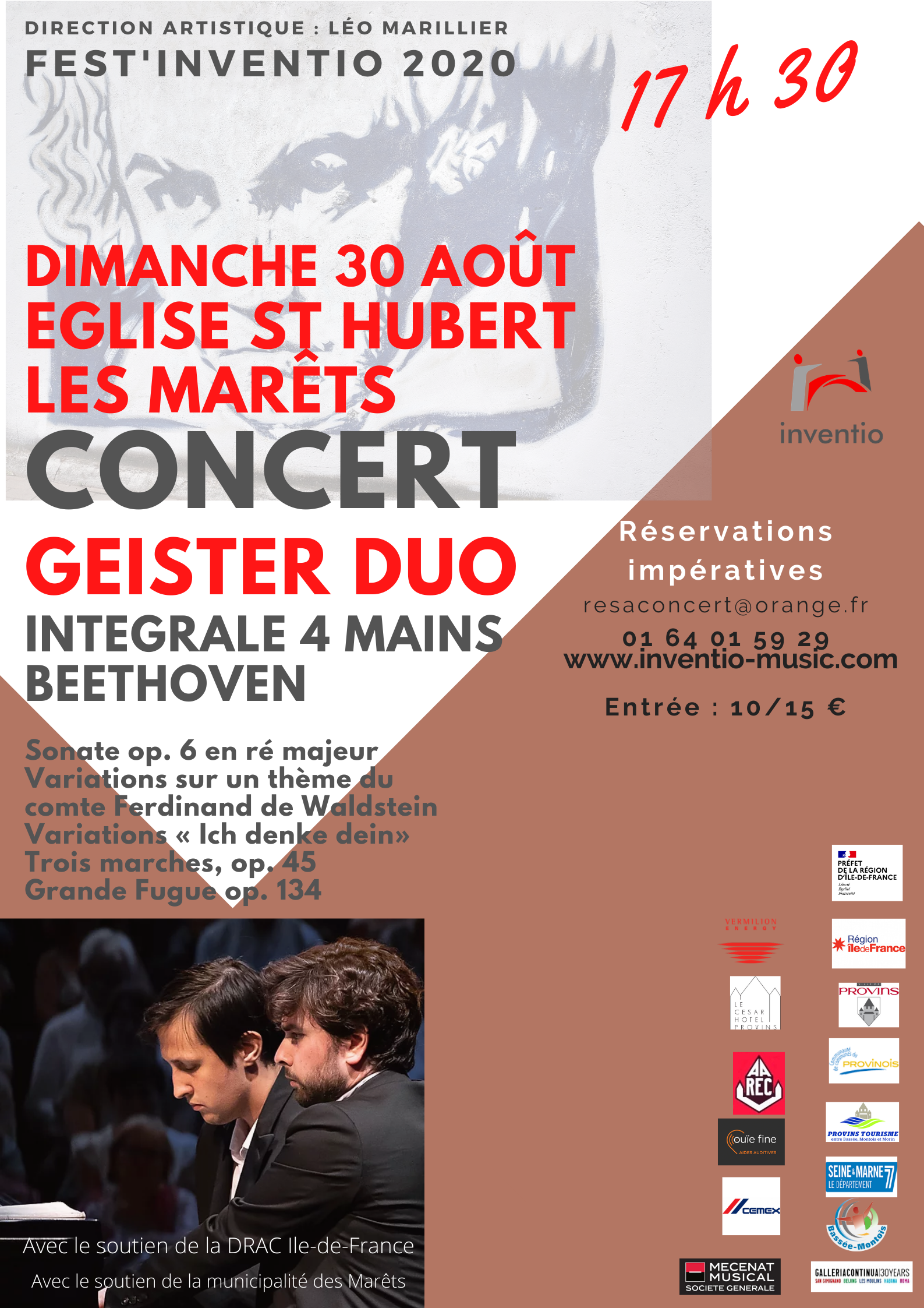 FEST'INVENTION CONCERT GEISTER DUO INTEGRALE 4 MAINS BEETHOVEN @ Eglise St Hubert