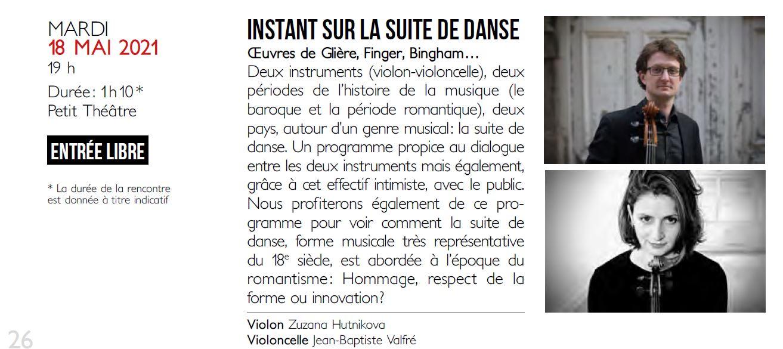 Concert - Instant sur la Suite de Danse @ Petit Théâtre